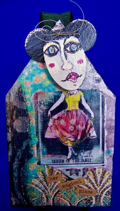 wood collage DANCING GIRL by BonjBonCreations on Etsy