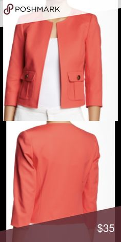 "Chic Kiss Front Crop Jacket by Vince Camuto This chic crop blazer is a cool coral / watermelon shade. Round neckline, 2 pockets with gold-tone buttons, 3/4 sleeves. Fully lined. 98% cotton, 2% elastane. Approx 22"" in length. Vince Camuto Jackets & Coats Blazers"