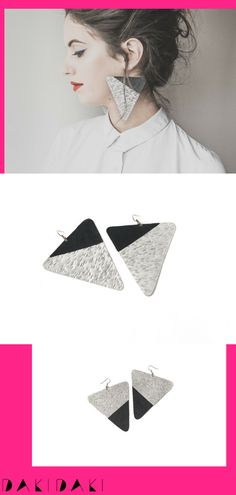 Funky statement earrings in black and silver, an ideal match for every outfit Free delivery wherever you are Funky Earrings, Statement Earrings, Designer Earrings, Free Delivery, Triangle, Texture, Outfit, Unique, Silver