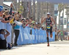 Andy Potts celebrates an impressive come from behind victory at the Accenture Oceanside Ironman 70.3 Triathlon.