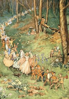 Fairy folklore has been around for centuries. Many people actually believe fairies exist in another realm that is invisible to the naked eye. Vintage Fairies, Vintage Art, Fantasy Kunst, Fantasy Art, Art And Illustration, Food Illustrations, Elfen Fantasy, Arte Peculiar, Fairytale Art