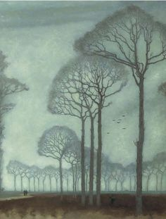 'Bomenrij' (row of trees), 1915 - by Jan Mankes (Dutch, 1889-1920) | Bomenrij depicts a road near Oranjewoud, a small village in Friesland (oil on canvas)