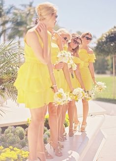 floral, dress, bouquet, flowers, romantic, mini, real, stripes, checkered, Bridesmaids, Summer, elegant, amarillo, dresses, photos, yellow, wedding