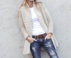 oatmeal knitted jacket swing jacket hand knit jacket