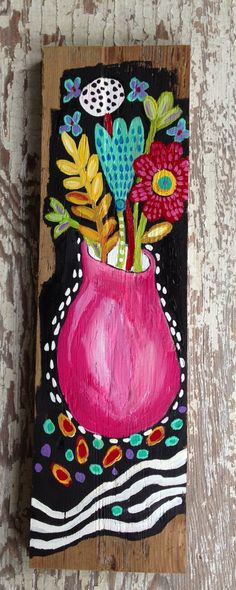 Floral folk art on wood wall art on Etsy, $42.00