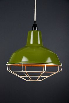 New modern dandy enamel vintage Cage shade tennis court pendant hanging lamp ceiling room wire light Quentin Crisp