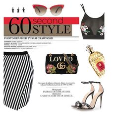 """""""60-Second Style: Asymmetric Skirts"""" by samanthasade ❤ liked on Polyvore featuring Boohoo, Rare London, Gucci, SAM., Chanel and Guerlain"""