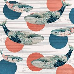 Pattern - Christmas chaos by shizayats, via redbubble.com...Whale and Polka Dots by Paula Belle Flores