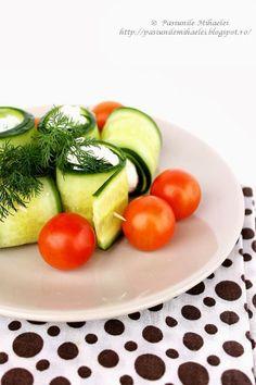 Pasiunile Mihaelei: Rulouri de castravete cu branza feta (Cucumber Stuffed with Goat Cheese) {Appetizer}