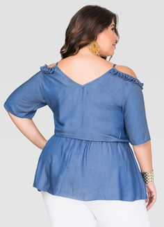 Cold Shoulder Cinch Waist Top - Ashley Stewart
