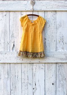 Autumn Burst upcycled tunic top eco bohemian yellow by wearlovenow, $32.00
