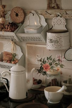 Vintage kitchen. I love the old nails as hooks! That would work in so many rooms!