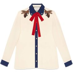 Gucci Organza Patch Embroidered Shirt ($1,390) ❤ liked on Polyvore featuring tops, kirna zabete, shirts, embroidery shirts, patch shirt, gucci, bee shirt and pink shirts