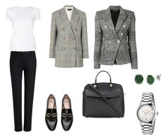 A fashion look from March 2018 featuring slim fit t shirts, houndstooth blazer and oversized jacket. Browse and shop related looks. Oversized Jacket, Furla, Helmut Lang, Houndstooth, Isabel Marant, Balmain, Joseph, Fashion Looks, Gucci
