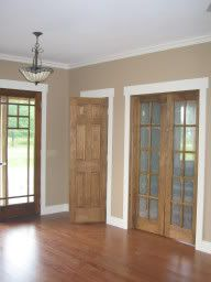 Our new home has oak trim with matching 6 panel doors throughout