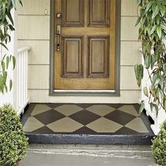 Love this color for a painted cement porch with pattern!