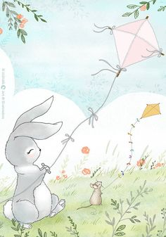 Bunny with Kite - Digital Print  Hand sketched & digitally colored original illustration. Print on high quality paper, with smooth texture.  Print size: