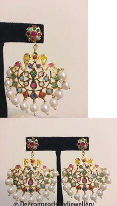 Earrings 98510: Multicolor Navratan Hyderabadi Chandbali Indian Pakistani Jewellery -> BUY IT NOW ONLY: $38 on eBay!