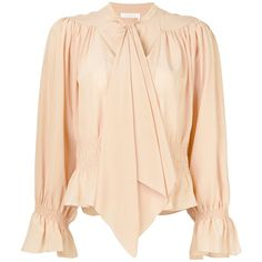 Chlo? Pink Silk Blouse (£505) ❤ liked on Polyvore featuring tops, blouses, shirts, pink, chloe shirt, beige silk blouse, pink shirt, shirt top and pink silk blouse