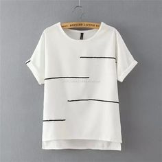 Ccdresses T-Shirts Round Collar White And Black Line Stripe Fashionable Women's…