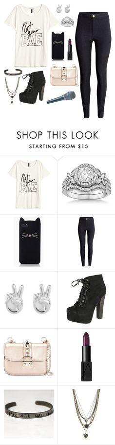 """Doing my job."" by jessica-in-reverse-22 ❤ liked on Polyvore featuring H&M, Allurez, Kate Spade, Rock 'N Rose, Breckelle's, Valentino, NARS Cosmetics and Ettika"