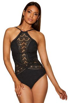 513ea506962 HIgh neck crochet one-piece swimsuit from Boston Proper Crochet One Piece,  High Neck