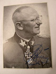 Rare post 1945 signed photo of Waffen SS Gruppenfuhrer Herbert- Otto Gille. Obergruppenfuhrer Herbert Gille commanded the famed Waffen SS WIKING division on the Eastern Front and was of two Waffen SS officers to be awarded the Diamonds to his Knights Cross wit Oak Leaves. The other recipient was Sepp Dietrich who commanded LAH. This photograph is a signed studio portrait showing Herbert Gille in profile.