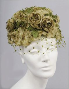 1950s Floral Toque Hat - Roses, Net - Soft Greens