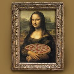 mona lisa with pizza -