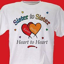 Heart to Heart Personalized Sisters T-shirts
