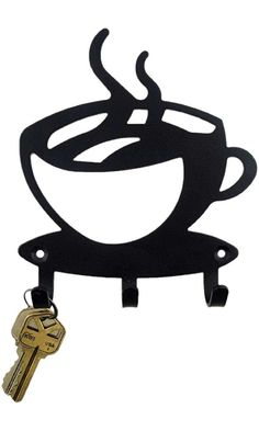 Black Metal Coffee Cup Silhouette Wall Art Key Holder for Home Decoration, Java Shops, Restaurants, Gifts by Super Z Outlet Best Price