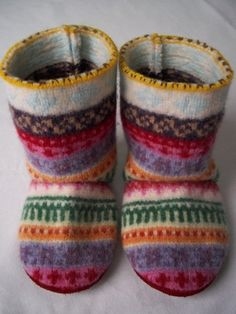 Baby Boots made from repurposed wool sweater