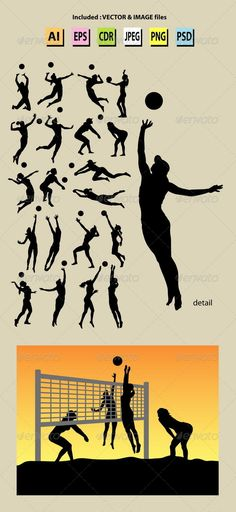 Beach Volleyball Girl Silhouettes  #GraphicRiver         Exclusive Item only on Graphicriver. 20 Beach Volley Ball Player Silhouettes.