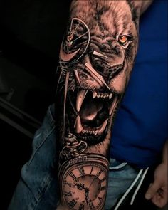 Lion Tattoo - 63 Brilliant Lion Tattoos Designs And Ideas - Lion Tattoo – 63 Brilliant Lion Tattoos Designs And Ideas - Clock Tattoo Sleeve, Tiger Tattoo Sleeve, Lion Tattoo Sleeves, Tattoo Sleeve Designs, Tattoo Designs Men, Clock Tattoos, Lion Sleeve, Lion Tattoo With Crown, Lion Head Tattoos