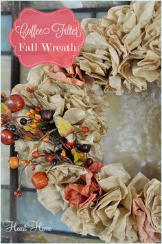 This Coffee Filter Wreath is the easiest & most budget friendly #Fall Wreath I've ever made!