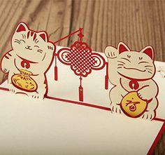Paper Spiritz Maneki Neko Lucky Cat 3D Pop Up Greeting Card Handmade Chinese New Year Birthday Valentine's Day Merry Thanksgiving Thank You Best Wish Good Luck Paper Spiritz