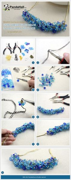 Jewelry Making Tutorial / This charm necklace is pretty stunning and astonishing-throwing lots of glass beads on a table and attaching randomly to a chain for one piece of charm necklace. It��s actually a fabulous work. by wanting