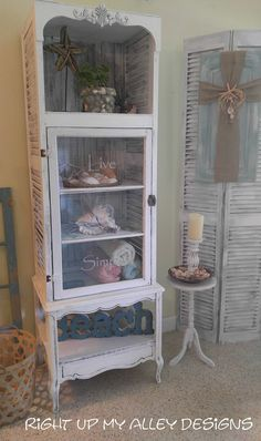 Shabby Chic Shutter Cabinet,Coastal furniture,Unique HANDMADE white cabinet,White furniture,Old Window,Shutters,Window Cabinet,Bath cabinet by RightUpMyAlleyDesign on Etsy Hey Dad, I did it!