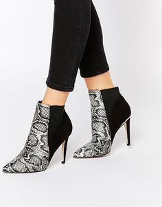 Lipsy+Bailey+Snake+Print+Heeled+Ankle+Boots