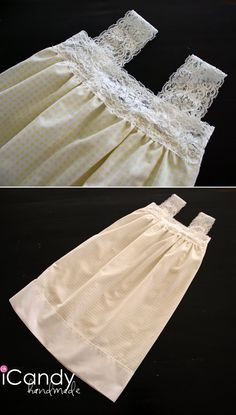 icandy: pillowcase nightgowns take 2: simple addition of stretch lace trim to a pillowcase to make a girls' nightgown.  Perfect for cute vintage pillowcases!