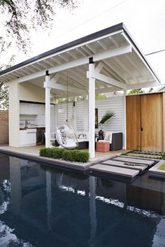 Outdoor Rooms: Pool Cabana and a relaxing area all in one. Outdoor Areas, Outdoor Rooms, Outdoor Living, Outdoor Kitchens, Outdoor Bathrooms, Outdoor Fire, Gazebos, Pool Cabana, Outdoor Cabana