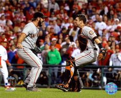 Buster Posey & Brian Wilson Celebrate winning the 2010 NLCS