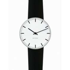 City Hall Wristwatch - White Face/Black Leather