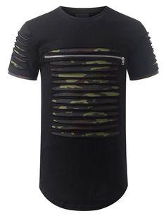 URBANCREWS Mens Hipster Hip Hop Ripped Zipper Crewneck T shirt BLACKCAMO XLARGE  #URBANCREWS #NA