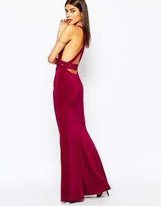 Image 4 of Club L Open Back Strap Detail Maxi Dress With Fishtail