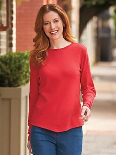 Long-Sleeve V-Hemline Shirt - Our version of a great fitting, wear-everywhere shirt. Long sleeves and the distinctively styled front-point hem make it a better-than-basic choice.