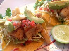 "Super Simple Fish Tacos! I love fish tacos, but I don't love measuring ingredients or spending all day following a recipe. Here's a quick ""throw together"" version that tastes delish! Ingredients 2 frozen sprouted corn tortillas (I use Food for Life) brand 4 ounces baked or grilled fish (I like cod, catfish, tilapia) ½ avocado ½ cup shredded cabbage ⅓ cup fresh pico de gallo (I use store-bought) Juice of ½ lime Sea salt Plain Greek yogurt, optional Recipe at WeighToMaintain.com"