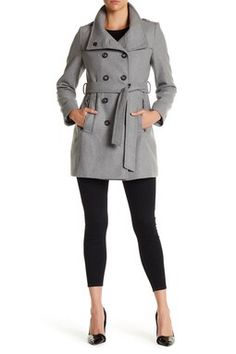 Double Breasted Stand Collar Wool Blend Trench Coat