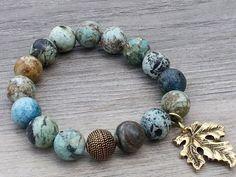 Chrysocolle Stretch Bracelet, Bracelet de pile, Bracelet de pierres précieuses