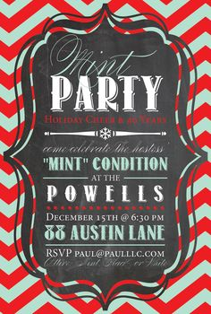 Custom HOLIDAY PARTY INVITATION Digital Card - Mint Chalkboard